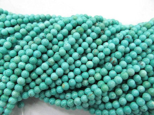 - jennysun2010 Natural Stabilized Green Turquoise Gemstone 3mm Smooth Round Loose Beads Length 15.5'' Inches (38.5cm) 1 Strand per Bag for Bracelet Necklace Earrings Jewelry Making Crafts Design Healing