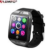 LEMFO Q18 Camera Smart Watch Phone Bluetooth Sports Smartwatch Insert Micro SIM / TF Card with Passometer Sedentary Reminder Sleep Monitoring Watches for IOS Android System (Black)
