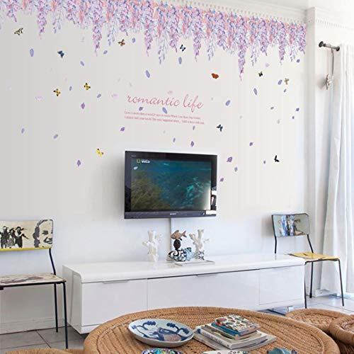 Peel and Stick Wall Border Sticker Wisteria Flower Pattern Free DIY Removable Home Decal Decoration Family Background Mural Decor for Living Room Bedroom