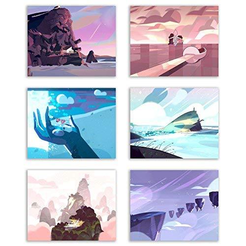 Crystal Steven Universe Landscape Prints - Set of Six Pastel Background Decor Wall Art Photos 8x10 Gems