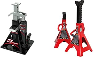 Powerbuilt Alltrade 640912 Black 3 Ton, All-in-One Bottle Jack & Big RED T43202 Torin Steel Jack Stands: 3 Ton (6,000 lb) Capacity, Red, 1 Pair