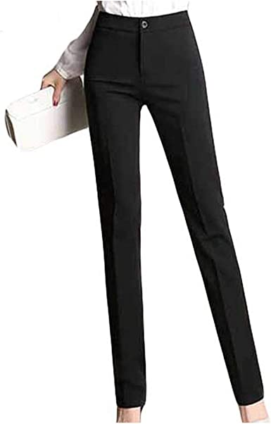 Formal Pencil Pants Work Wear Office Career Slim Long Straight Suit Pant  Ladies OL Trousers at Amazon Women's Clothing store
