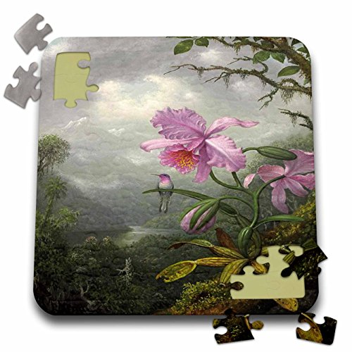 Painting Heade (Florene Vintage Art - Image of Heades 1800s Painting Hummingbird On Orchid - 10x10 Inch Puzzle (pzl_237443_2))