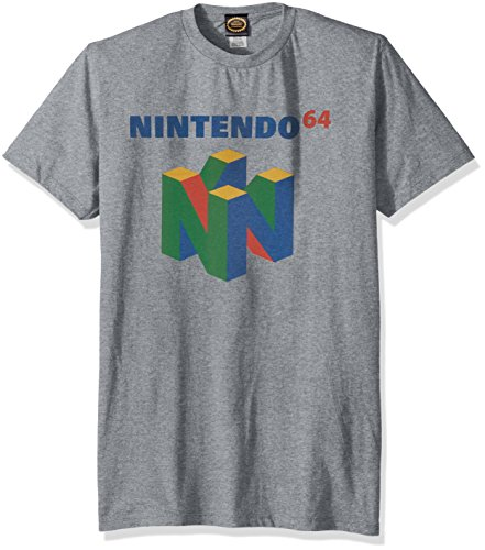 Nintendo Men's N64 Logo Short Sleeve T-Shirt, Premium Athletic Heather, Large