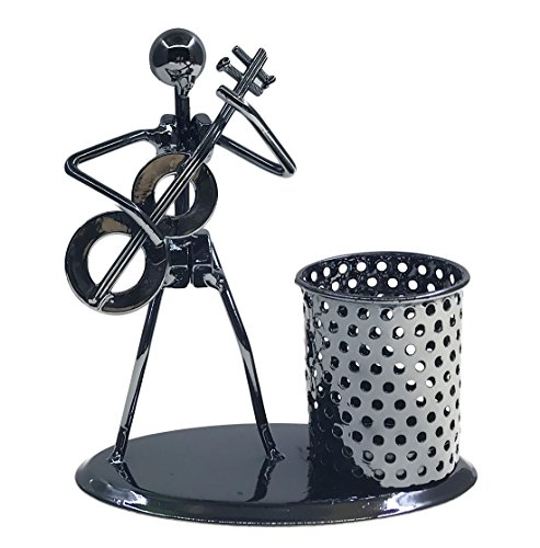 Clock Pen Cup (Retro Style Iron Art Crafts Music Man Figure Musician Statue With Personality Pen Container Holder Pencil Cup Pot Case For Secretary Students Office Home Desk Decor Gift (C81 Guitar))