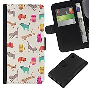 WINCASE Cuadro Funda Voltear Cuero Ranura Tarjetas TPU Carcasas Protectora Cover Case Para Sony Xperia Z1 L39 - patrón cerceta gatito dibujo de color beige