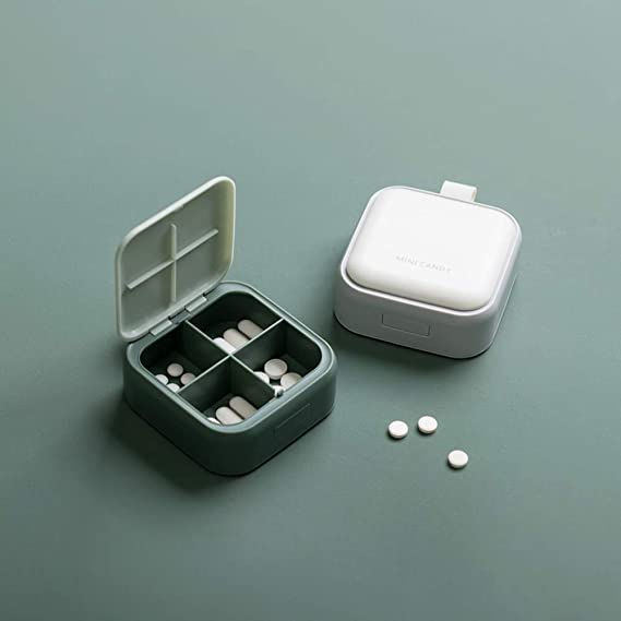 4084 Pill box Music theme Musical Notes Pill case Square Pill case Square Pill box Monogram Pill box 4 Sections Monogram Pill case