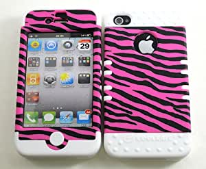 SHOCKPROOF HYBRID CELL PHONE COVER PROTECTOR FACEPLATE HARD CASE AND WHITE SKIN WITH MINI STYLUS PEN. KOOL KASE ROCKER FOR APPLE IPHONE 4 4S ZEBRA WH-TE544