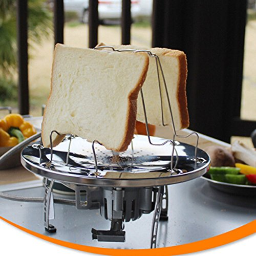 UNAKIM-4 Slices Camping Bread Toast Tray Rack Holder Camping Toaster Serving Stand Hot