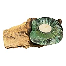 VIE Naturals Solo Sostenedor de Vela de Vidrio Fundido en Balanesischem Gamal Madera, 15 cm Longitud