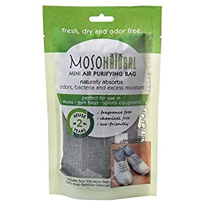 Mini Moso Natural Air Purifying Bags, Shoe Deodorizer and Odor Eliminator, 6 Pack (Three Packs of Two Bags)
