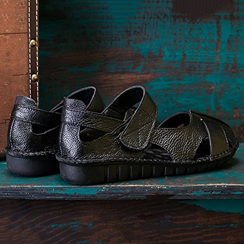 Duberess Women's Casual Leather Comfort Flat Mary Jane Sandals Ladies Summer Shoes B07DCMX1CT 6.5 B(M) US|Black