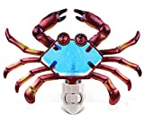 Puzzled Crab LED Night Light Handcraft Art Glass Decorative Home Decor Portable Easy Plug & Switch Novelty Lamp Animal Food Theme Adorable Unique Design 7 x 6 Inches Includes 1 Bulb For Sale