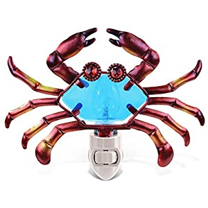 Puzzled Glass Art LED Night Light, Energy Efficient Plug In Decorative Socket Lamp, Manual On & Off Portable Lights for Stairway, Bedroom, Bathroom, Nursery, Home Accessory & Kitchen Decor – Crab