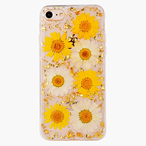 (Pretty Flower Case for iPhone 6 Plus, TIPFLY iPhone 6s Plus Daisy Floral Real Pressed Dry Flowers Cover, Slim Cute Clear Flexible Rubber Shell Protective for iPhone 6 Plus/6s Plus (Flower #11) )