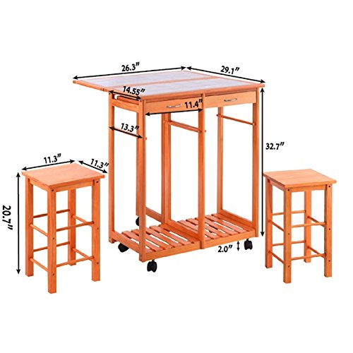 Portable Rolling Wooden Kitchen Island Storage Utility Cart With 2 Stools Home Brakfast Drop Leaf Table Foldable And Extendable Two Pull Out Storage Drawer Cabinet 5 Wheels