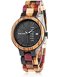 Womens Wooden Watches Colorful Bamboo Watches with Week & Date Display Handmade Natural Wood Casual Wirst