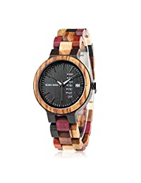 Wooden Watches for Women Colorful Bamboo Watches with Week & Date Display Handmade Natural Wood Casual Wrist Watches for Mother, Wife,Lady, Girls, Female Perfect Gift
