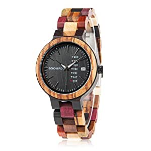 Womens Wooden Watches Colorful Bamboo Watches with Week & Date Display Handmade Natural Wood Casual Wirst Watches for Ladies, Female Perfect Gift