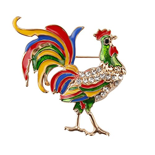 Reizteko Gold Tone Multicolor Large Red Rooster Cock Chicken Brooch Pin Enamel Rhinestone Animal Jewelry (Multicolored)