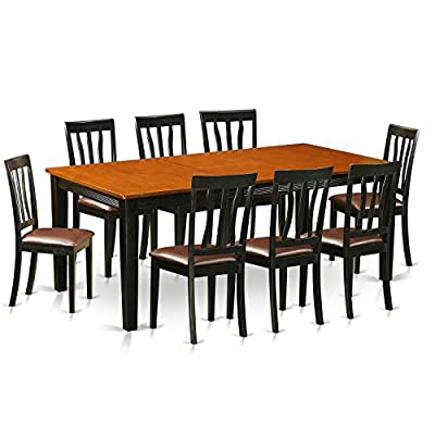 9 PC Dining set-Dining Table with 8 Wooden Dining Chairs - This 9 piece dining set Includes dining table and 8 faux leather seat dining room chairs finished in Black and Cherry Dining table provides a built-in 18 inch self storing extension Butterfly Leaf which can be stored right under the table top The dinette table is made from All Asian Solid wood from top to bottom. No MDF, or softwood venner used. - kitchen-dining-room-furniture, kitchen-dining-room, dining-sets - 510fCOBbhvL. SS400  -