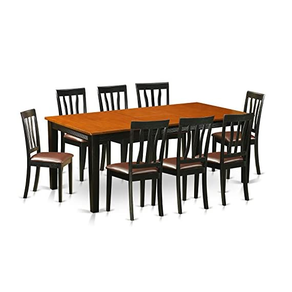 9 PC Dining set-Dining Table with 8 Wooden Dining Chairs - This 9 piece dining set Includes dining table and 8 faux leather seat dining room chairs finished in Black and Cherry Dining table provides a built-in 18 inch self storing extension Butterfly Leaf which can be stored right under the table top The dinette table is made from All Asian Solid wood from top to bottom. No MDF, or softwood venner used. - kitchen-dining-room-furniture, kitchen-dining-room, dining-sets - 510fCOBbhvL. SS570  -