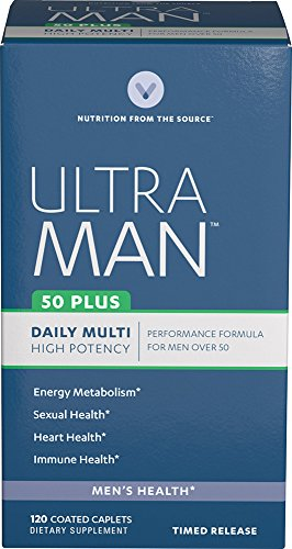 Vitamin World Ultra Man 50 Plus Daily Multivitamins 120 Caplets, Vitamins for Men, Energy Metabolism, Heart Health, Coated, Timed-Release, Gluten Free