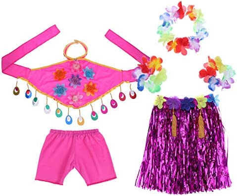 Amosfun Traje Fiesta Hawaiana Disfraces Falda Hula Diadema ...