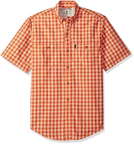 G.H. Bass & Co. Men's Explorer Fancy Short Sleeve Plaid Shirt, Rich Orange Rust, Medium