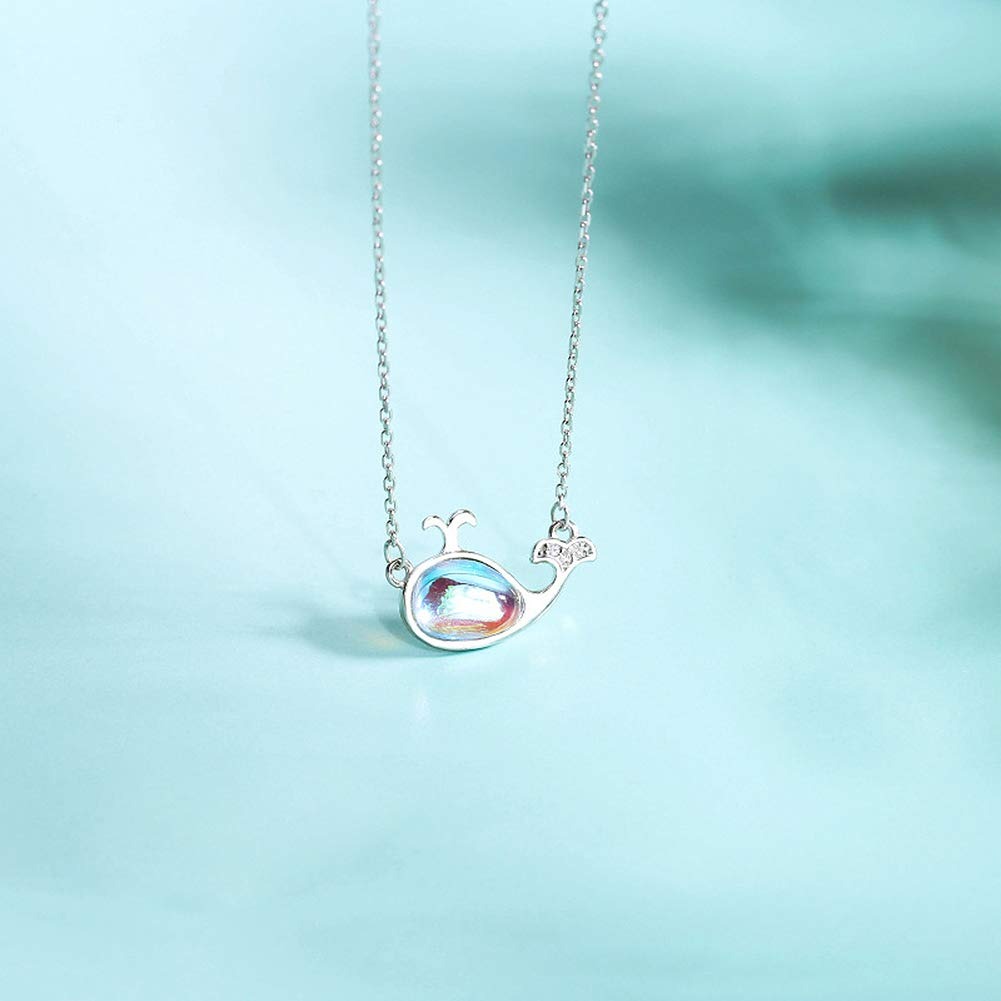 925 Sterling Silver Womens Rainbow Moonstone Sterling Silver Dolphin Necklace Funny 79th Birthday Gifts for Women 79th Birthday Gifts for Women 79 Year Old Birthday Gifts for Women
