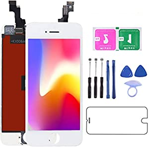 D-FLIFE LCD Screen Replacement, Digitizer Display Retina Touch Screen Glass Frame Assembly for iPhone 5S / 5C (for iPhone 5s White)