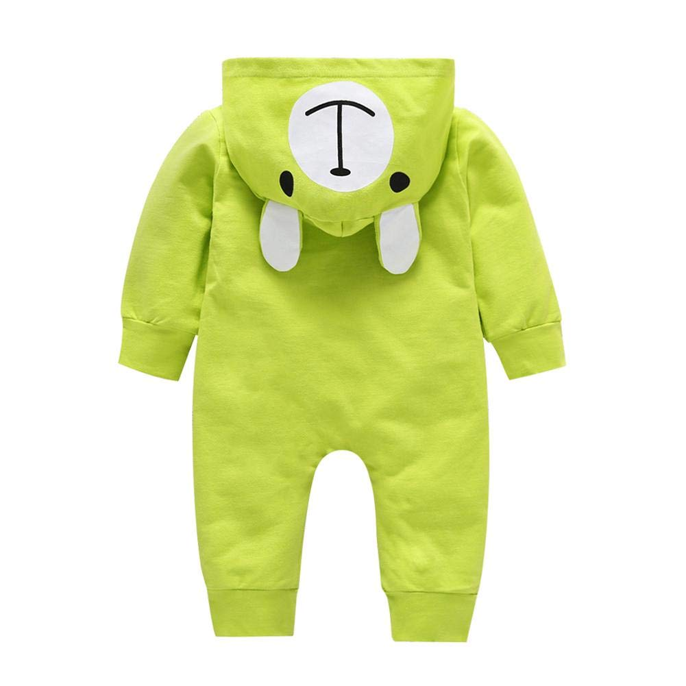 chinatera Baby Rompers Infant Cartoon Bear Hooded Jumpsuit Long Sleeve Clothes