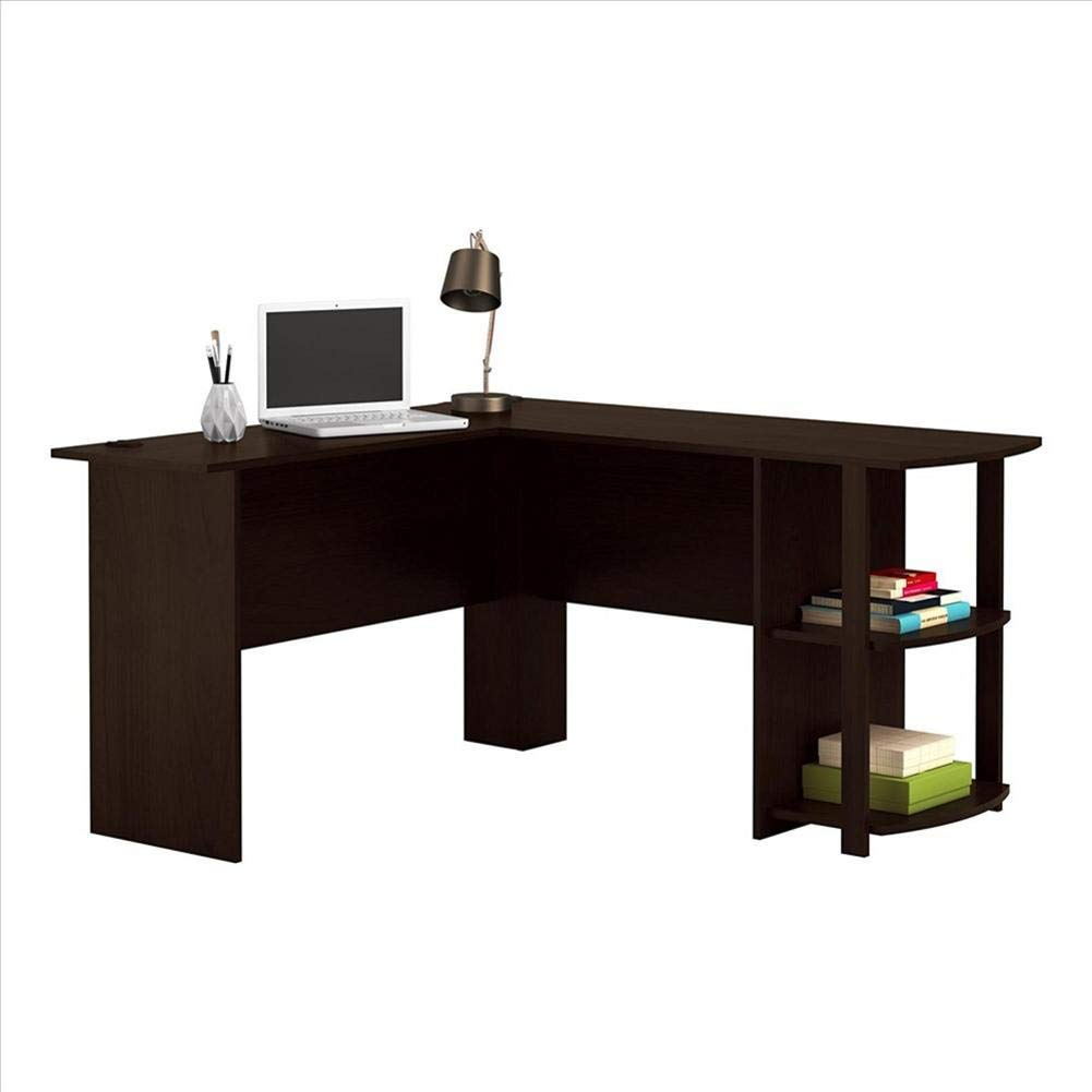 Right angle computer desk reversible corner computer office desk pc laptop study table workstation for home office with two layer bookshelves dark brown