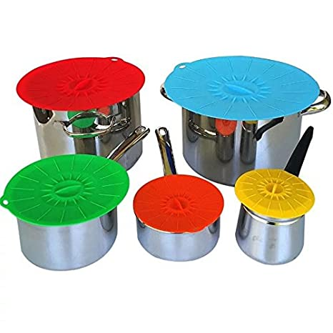 Gran set de 5 tapas de succión de silicona microondas y apto para alimentos cubre sartenes y ollas conjuntos tapas café o té tazas y cuencos tapas: ...