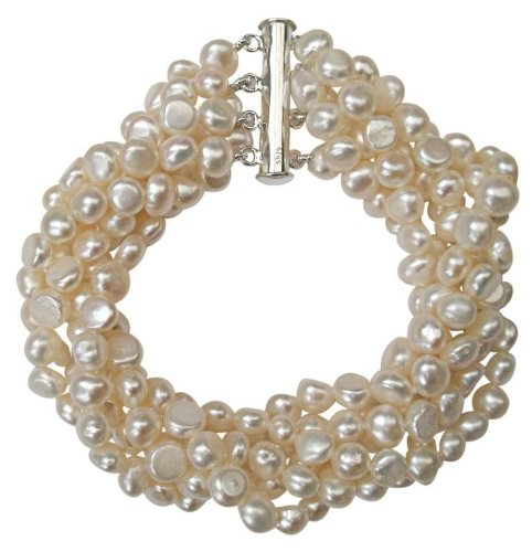 ed Pearl Six Strand Chunky Bracelet with Silver Clasp ()