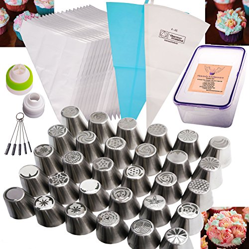 Russian Piping Tip 55 Pc Set (30 Russian Tips,1 Tri-Color Coupler,1 Single Color Coupler, 1 Silicone and 1 Fabric Bag, 20 Disposable bags & Cleaner Brush) 304 Stainless Steel EXTRA LARGE DELUXE Kit