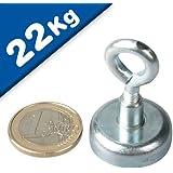Aimant avec oeillet Ø 25 mm Néodyme - Zingué - adh. 22 kg