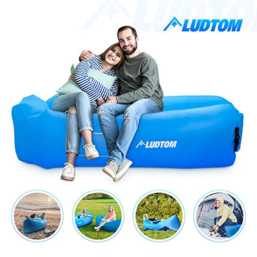 Inflatable Lounger Air Sofa Hammock, ludtom Portable Waterproof Anti-Air Leaking Pouch Couch Air Chair Camping Accessories for Traveling, Beach, Picnics, Hiking, Pool and Festival