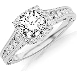 1.75 Carat Designer Halo Channel Set Round Diamond Engagement Ring with Milgrain 14K White Gold with a 1 Carat I-J I2 Round Brilliant Cut/Shape Center