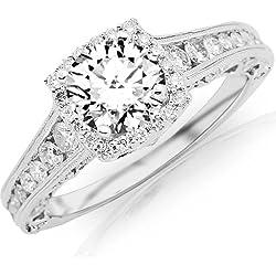 1.75 Carat Designer Halo Channel Set Round Diamond Engagement Ring with Milgrain 14K White Gold with a 1 Carat I-J I2 Round Brilliant Cut/Shape Center