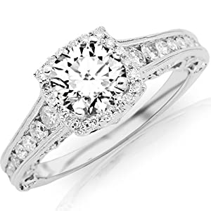 2.25 Carat Designer Halo Channel Set Round Diamond