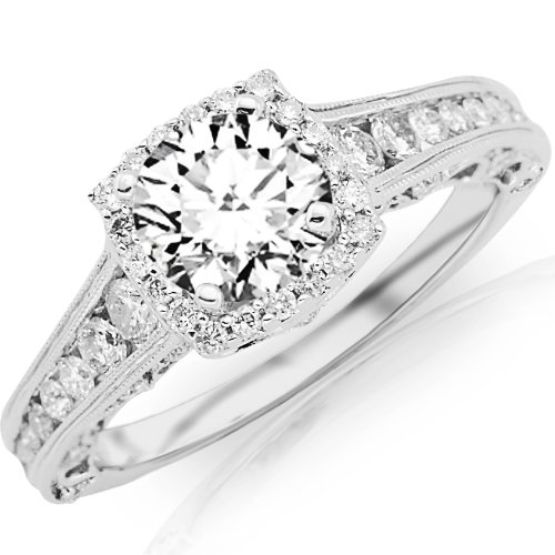1.75 Carat Designer Halo Channel Set Round Diamond Engagement Ring with Milgrain 14K White Gold with a 1 Carat I-J I2 Round Brilliant Cut/Shape Center by Houston Diamond District