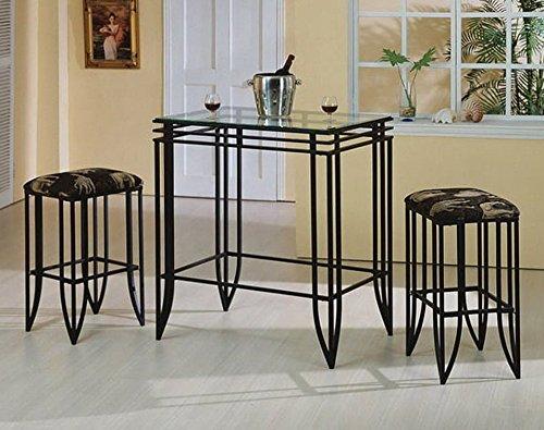 Crown Mark Matrix 3pc Bar Table Stools Set - Bar Height Beveled Glass
