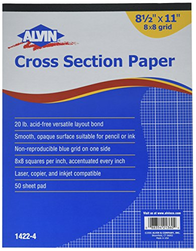 Alvin 1422-4 Cross Section Paper 8 x 8 Grid 50-Sheet Pad 8-1/2 inches x 11 inches