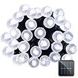 Lalapao G12 Solar Powered String Lights 50 LED Fairy Christmas Lighting Decor Timer with 8 Modes for Indoor Garden Path Patio Lawn Holiday Decorative Garden (White)