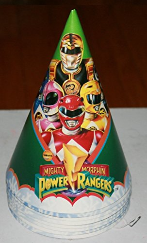 Mighty Morphin Power Rangers Masks (Power Rangers Mighty Morphin Birthday Party Hats - 8 Paper Hats)