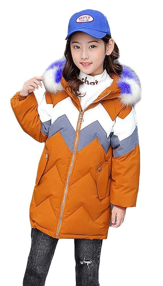 Kapuzen Pelzkragen mit Steppjacke Winterjacke Trenchcoat Wintermantel warm Mädchen Outerwear verdickte Lang Winddicht Oberbekleidung SMITHROAD ynv0mNwO8P
