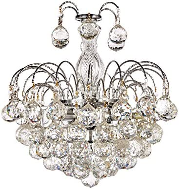 Diamond Life 3-Light Chrome Finish European-Style Crystal Chandelier with Crystal Balls Pendant Hanging Ceiling Light Fixture, Bulbs Included