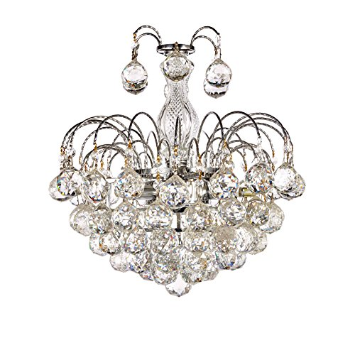New Galaxy Lighting Chrome Finish European-Style 3-Light Chandelier with Crystal Balls Pendant Hanging Ceiling Light Fixture