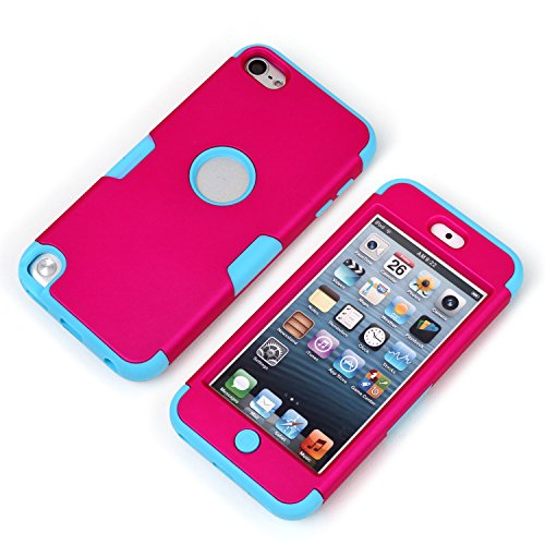 MagicSky Plastic + Silicone Tuff Dual Layer Hybrid Case for Apple iPod Touch 5 5th Generation - 1 Pack - Retail Packaging - Blue/Hot Pink